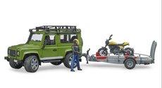 Bruder 2589 Land Rover Defender s přívěsem, motocykl Ducati a řidič